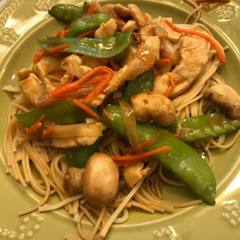Chicken with Pea Pods stir fry
